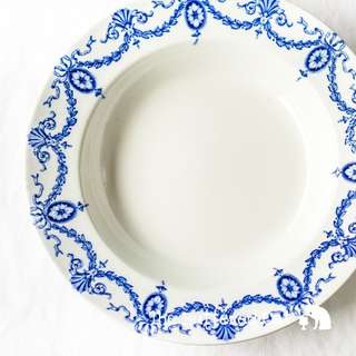 RESERVED Beautiful blue and white antique porcelain bowl with blue ribbon bows, garlands and swags