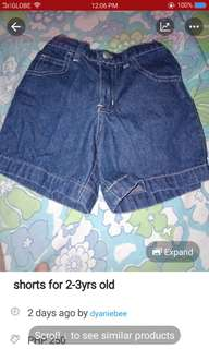 shorts for 2-3 yrs old