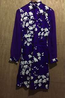 Blue violet Chinese style long sleeve dress