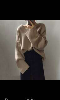 Oversize Khaki Knitted Top