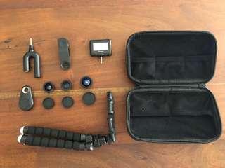 Micnova mobile camera accessory kit. c/w Flexible Holder/Tripod, mic, flash, 3 lenses.