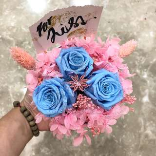 "Baby Blue Preserved Roses Bouquet with baby Pink Hydrangeas • ""Folks in Love"""