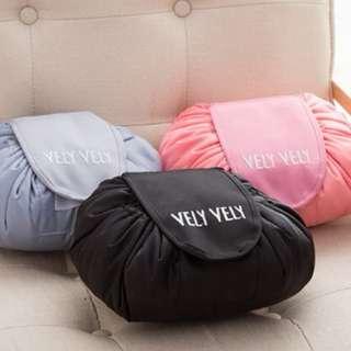 Instocks / Ready Stocks Brand New Vely Vely Magic Travel Pouch (beauty makeup cosmetics mac korean kbeauty luggage organisation large drawstring black baby pink aqua turquoise blue)