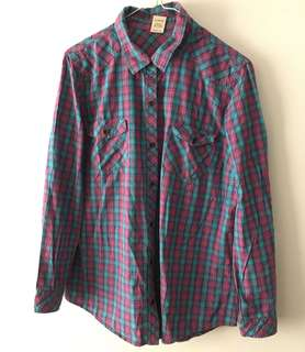 Charity Sale! Authentic Faded Glory Long Sleeve Plaid Checkered Polo Size Large 100% Cotton Women's Shirt Top
