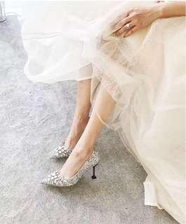 2018 New Rhinestone High Heels Wedding ShoesCinderella Shoes Women Pumps Pointed toe Woman Crystal