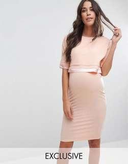 BNWT ASOS Maternity Nursing Double Layer Dress with Satin Trim