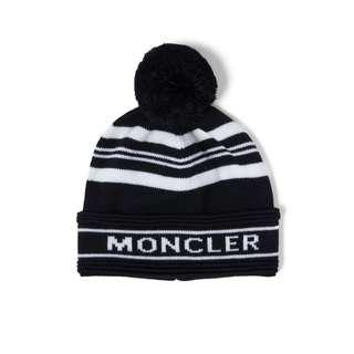 MONCLER - 條紋嵌花羊毛球毛線帽