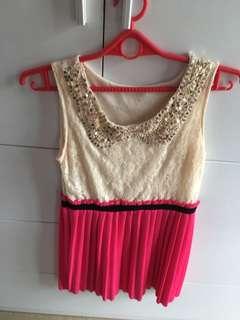 Pink and creme dress