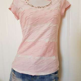 Beaded pink top stripes