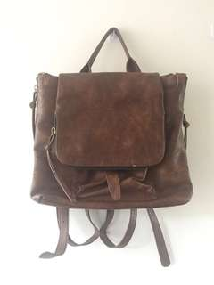 Brown Leather Travel Backpack