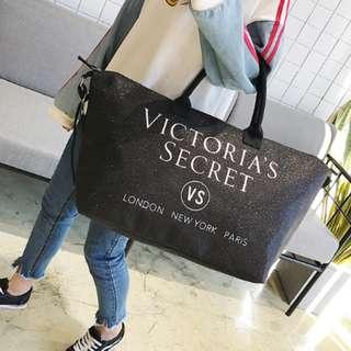 🚚 Victorias Secret 維多利亞的秘密 閃粉亮晶晶 旅行袋 購物包 沙灘袋 旅行袋 旅行包 大包包