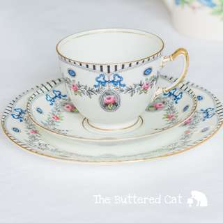 RESERVED Stunning antique English tea trio, blue ribbon bows and rose cameos, for the collector