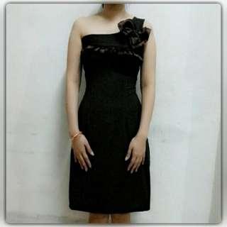 One shoulder dress dark brown