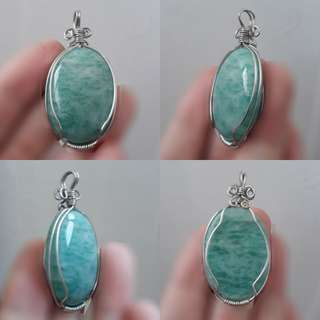 🏞Nice piece of Amazonite cabocheon/Pendant(天河石吊坠) in Silver plated copper wire wrap.