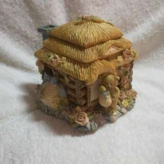 Vintage Ceramic Teddy and His Cottage Container With Lid / Cover