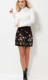 New Look Black Floral Embroidered A-Line Skirt