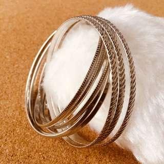 9-pc Interlocking Bangle Bracelet (Silver)