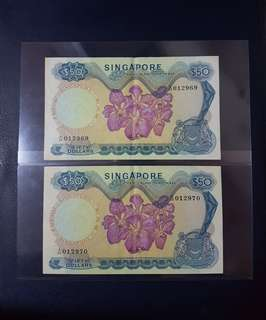 🇸🇬 Singapore Orchid Series $50 Banknote~HSS Without Red Seal~2pcs Consecutive Pair