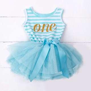 Instock - 1st blue birthday dress, baby infant toddler girl children sweet kid happy abcdefgh so pretty