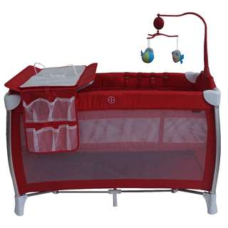 Hardly used - Bonbijou S1 Playpen With Anti-Dust Mattress + Basinet Changer + Musical Mobile (Red)