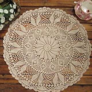Handmade Cotton Crochet Lace Round Tablecloth 60cm