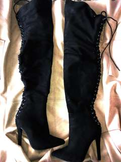 Black lace up high heels / Kylie Jenner black suede thigh high heels
