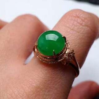 🍍18K Gold - Grade A 冰糯 Full Green Cabochon Jadeite Jade Ring🍍