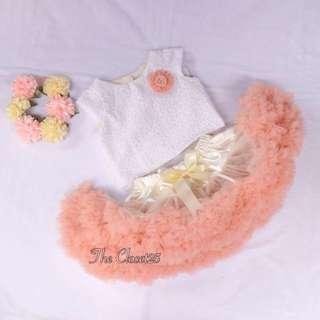 3Layered Peach & beige  Pettiskirt & Ivien eyelet  top and Flower Crown .