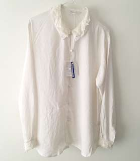 Charity Sale! Authentic Suzuya Hong Kong Modest Lace Trim Button Up Office Work Dress Shirt Work White Blouse Size Medium