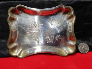 1920s Etched Electro Silver Plated Footed Dish