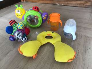 Fisher Price toy, Benbat head pillow, Sassy ball, Avent bottle and cup