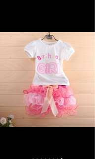 Birthday girl costume set tutu skirt tops infant toddler kid