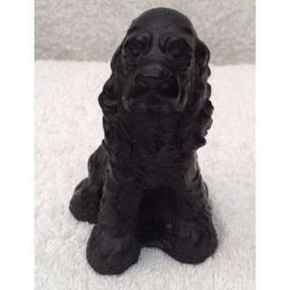 Vintage Kingmaker Handmade Welsh Coal Dog Spaniel Figure Ornament From Wales