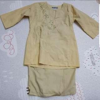 Preloved Kids Baju Kurung For Girls (Beige) - Size 1 To 2