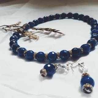Navy Blue Necklace w/ Earrings