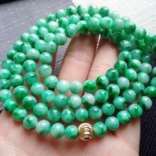 翡翠A貨種好水潤滿色帶陽綠圓珠項鍊手鍊特惠包郵順豐,直徑: 6.8毫米,配送證書,編號0428