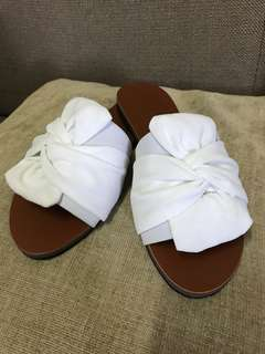 White ribbon suede sandals