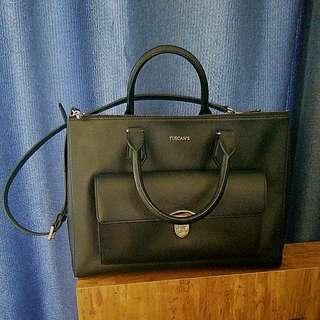 OL最愛 Tuscan's 大黑皮手袋 手挽 長帶 Leather Bag Handle Messenger OL