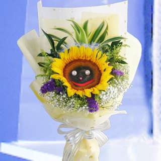 [FREE DELIVERY] Smiley Sunflower Long-wrapping Hand-bouquet (007-SU)