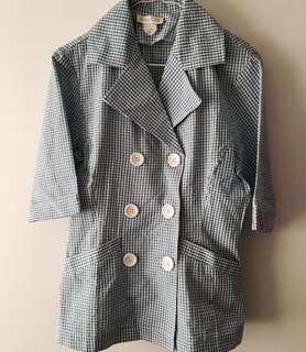 Charity Sale! Authentic Jube Girl Blue Dotted White Speckled Office Formal Work Women's Blazer Size Medium
