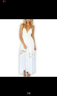 Pre-Order Womens Evening party Maxi Long Lace Beach Backless Dress