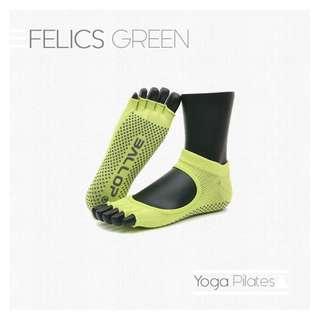 FELICS GREEN Jam Socks Yoga Pilates Kaos Kaki Hijau Ballop Indonesia