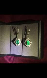 Minor Oil Emerald Diamond Earrings