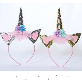 Brand New Instocks Pointy Ears Unicorn Horn Silver Gold Headband Hair Band Girls - Floral Sequins Gorgeous Pretty Party Costume Halloween Baby Toddler Cute My Little Pony shopkins HM Zara Kids
