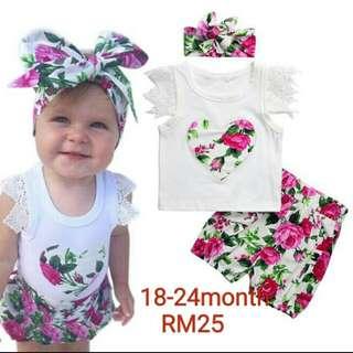 Baby 3pc Set Wear Floral