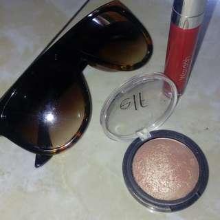Kaca mata + Elf .blush gems + wardah matte lip cream no .06