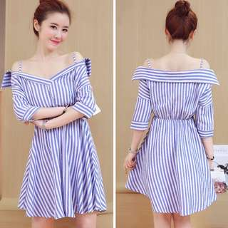 💋 Off Shoulder Striped Dress