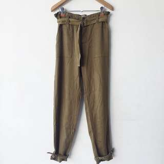 Pull & Bear army green cargo relaxed fit trousers with belt