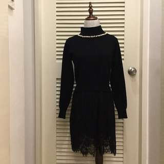 PLOVED: Black Knit Pearl Dress