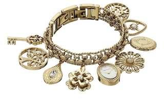 Anne Klein Swarovski Crystal Charm Bracelet Watch